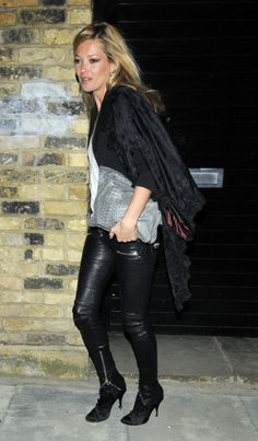 Kate Moss wearing Derek Lam Elsa Python Clutch in Pearl Grey Balmain Leather Pants in Black Balmain Satin Booties