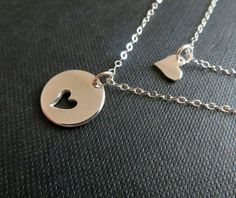 Mother daughter jewelry Sterling silver heart by thejewelrybar