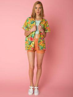 Handmade Melon Print Short-Sleeve Blouse. #AmericanApparel