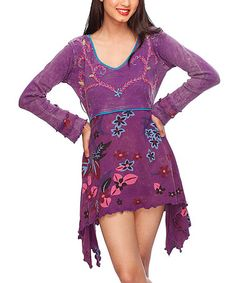 Take a look at this Purple Floral Sidetail Dress by Rising International on #zulily today!