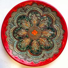 Multicolored ceramic plate can be lovely Christmas gift ❤💚💛