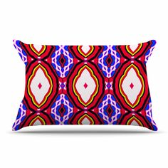 """Dawid Roc """"Inspired By Psychedelic Art 2"""" Red Abstract Pillow Sham"""