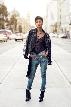 Biker Jacket + Boyfriend Jeans http://micahgianneli.com/leather-lace-denim/