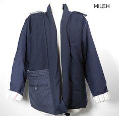 MILCH macht alles aus Hosen und Hemden! 100% UPCYCLING Jacke Bruno www.MILCH.tm Upcycling Design, Upcycling Fashion, Umgestaltete Shirts, Kalter Winter, Shirt Refashion, Slow Fashion, Diy Clothes, Upcycle, Boyfriend