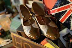 Beautiful patent t-bar shoes reminiscent of the 1920s.