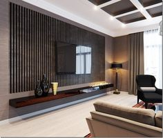 Epic Modern TV Wall Design Ideas For Stunning Living Room Decoration Nowadays TV is often found on walls, but when it comes to deciding how you want to make the perfect TV wall, it might be difficult to choose the right. Tv Wall Design, Tv Unit Design, House Design, Interior Design Wall, Key Design, Design Interiors, Flat Design, Modern Interior, Tv Wall Decor