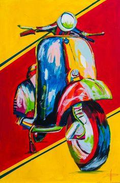 Dolce italiana - Vespa - x Art painting of David FERON - www. Arte Pop, Vespa Scooters, Scooter Scooter, Vespa Illustration, Vespa Vintage, Christmas Drawing, Motorcycle Art, Car Drawings, Vintage Posters