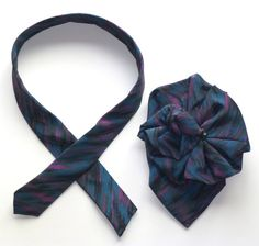 Ladies Silk Upcycled Necktie Scarf / 2-pc. Pin & Tie in Sea blue, green and fuschia pink / Upcycled Eco Fashion Accessory