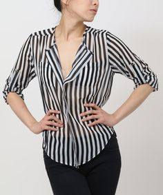Black & White Stripe Button-Up Top by funkitribe #zulily
