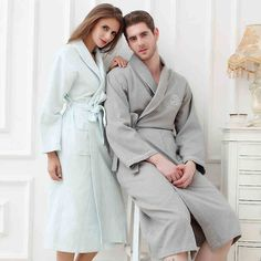 945ad7d3b8 Waffle bathrobe men women cotton terry plus size XL men s robe nightgown  ladies sleepwear long soft