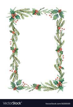 Watercolor christmas frame with fir Royalty Free Vector , Christmas Boarders, Christmas Frames, Diy Christmas Cards, Christmas Printables, Christmas Art, Christmas Wreaths, Christmas Decorations, Xmas, Vector Christmas