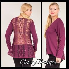 Lace back mauve top. NWT Button front - mauve - long sleeves and lace back. High low hem. Size 3X This is 65% polyester - 30% Rayon and 5 % spandex. Boutique Tops