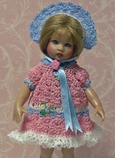 """Hand crochet outfit for 7.5"""" Riley Kish doll by jdldollclothes.com."""