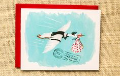 meandwee.com, New Baby card, Baby shower card, Baby on the way, stork carrying baby card, baby greeting card, congratulations on baby