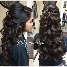Pin curl updos are another updo hairstyle where the updo hair is curled. Half Updo Wavy Curls In 2019 Quinceanera Hairstyles Updo By Robby Garza On Frizo In Quince Hairstyles, Wedding Hairstyles For Long Hair, Wedding Hair And Makeup, Bride Hairstyles, Cool Hairstyles, Sweet 16 Hairstyles, Curled Wedding Hair, Wedding Bun, Indian Bridal Hairstyles
