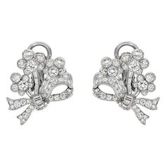 Betteridge: Betteridge Collection Diamond Foliate Bow Earclips