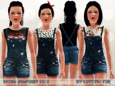 A cute denim jumpsuit combined with a sleeveless printed top  Found in TSR Category 'Sims 3 Female Clothing'