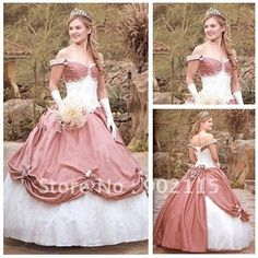 Romantic Style Off the Shoulder Custom Made Victorian Ball Gown Wedding Dresses(China (Mainland))