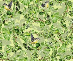 SEAMLESS PATTERN: DAYDREAMING. COLLECTION: WILD DANUBE DELTA. This pattern is inspired from the Danube Delta, a beautiful, wonderful place from my country, a nature blessed land and water where birds and plants are free to live in peace and tranquility. The design brings together a yellow chirpy tit and a chain of water lilies and green leaves. A fresh vivid pattern that reveals the Danube wild nature. Motifs are painted by hand with watercolors and finished in Ps.