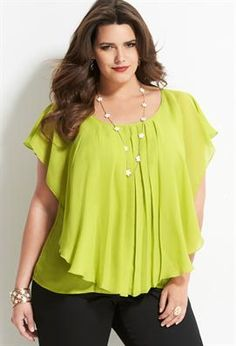 Ruffle Overlay Georgette Blouse...this top draws the eye up...so this is a flattering top.