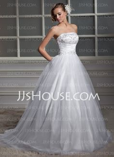 Ball-Gown Strapless Chapel Train Satin Tulle Wedding Dress With Ruffle Beadwork (002011560)
