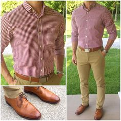 """Here's another outfit idea with this awesome red gingham shirt❗️ Check out their new summer shirt lineup and get a fast 2 week turnaround on your very own custom shirt like this one❗️ Do you like this outfit❓ Shirt: """"There Wi Red Gingham Shirt, Mode Outfits, Fashion Outfits, Moda Formal, Formal Men Outfit, Semi Formal Outfits, Stylish Mens Outfits, Unique Outfits, Herren Outfit"""