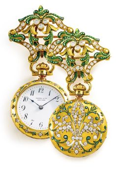 Tiffany & Co./Patek Philippe RETAILED BY TIFFANY & CO.: A YELLOW GOLD, ENAMEL, AND DIAMOND-SET PENDANT WATCH IN A CONTRACT CASE MVT 84930 CASE 84930 MOVEMENT MADE IN 1889 • 10''' lever jeweled movement with lever escapement • white enamel dial, Breguet numerals, blued steel hands • 18k yellow gold contract case, solid case back with green enamel vines flanking and diamond-set fleur-de-lis, with matching pierced brooch pin • movement signed by maker, dial signed by retailer, case numbered