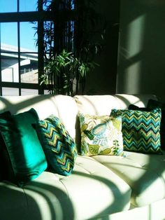 Pier 1 Cool Chevron Yarns and Allover Leaves Pillows