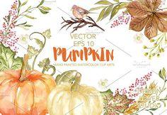 Vector Watercolor Pumpkin clip arts. Wedding Card Templates. $6.00