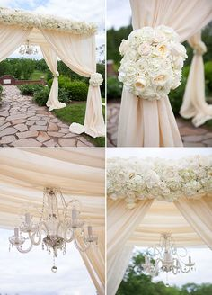 """The couple said """"I Do"""" under a beautiful chuppah adorned with lush white blooms and a crystal chandelier.  How beautiful are those details?"""