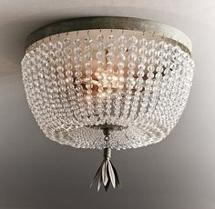 Dauphine Crystal Flushmount - love this mini-chandelier idea for a room! #home #decor #design