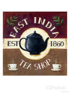 Wildon Home 'East India Tea Shop' by Mid Gordon Framed Vintage Advertisement Vintage Labels, Vintage Tea, Vintage Coffee, Vintage Posters, Chai, Boston Tea, East India Company, Tea Art, Poster On