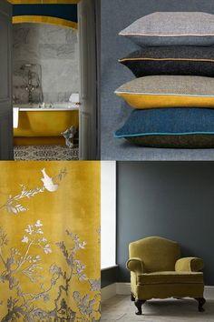 #mini #moodboard #inspiratie #ochre #oker #goud #gold #yellow #geel www.leemwonen.nl Interior Wall Colors, Mood Board Interior, Yellow Interior, Interior Paint, Modern Interior Design, Room Color Schemes, Room Colors, House Colors, Color Inspiration