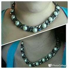 Fashion necklace Very cute fashion necklace don't recall where it was bought worn maybe a time or two gunmetal in color 9 pearls across the front lays nicely on the neckline fairly heavy piece. Super cute with a pair of round pearl earrings. Jewelry Necklaces