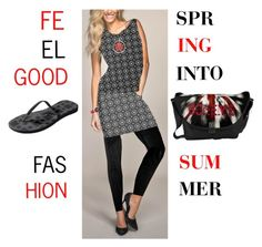 "Spring into Summer'  My fashion Collection is made to feel Good""            *See 100 more looks'              Feel Good Fashion & Living®  www.marijkeverkerkdesign.nl    Designer flip flops summer sandals, Shiny black leggings, Boheme black printed Top, Designer Bodycon mini skirt, Tribal red wrist watch, Designer tribal necklace, Boheme Sling Bag"