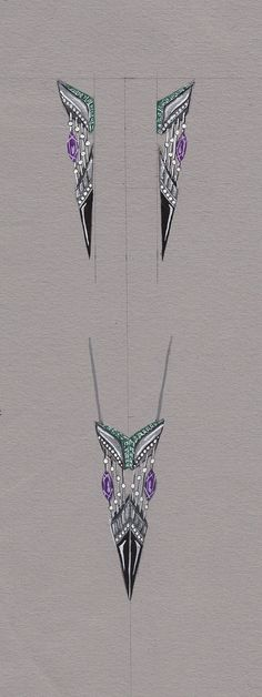 Learning to Fly #Earrings and #Pendant #Platinum, White #Diamonds, Black #Onyx, #Amethysts and Green #Emeralds