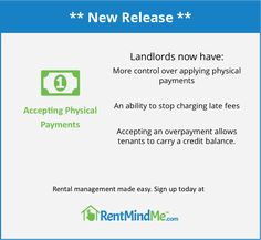RentMindMe is online rental management software that helps Landlords and Property Managers collect rent, manage maintenance and streamline communications. Virtual Assistant, Property Management, Being A Landlord, Make It Simple, Physics, Software, How To Apply, Learning, Easy