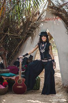 RAZZLE STEAMPUNK BLOUSE - Burlesque Steam punk Burning Man Tribal Gothic Shirt Cabaret Couture Top Plus size Gypsy Witch Goa Vintage - Black