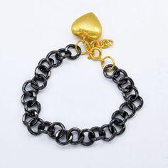 Heart Shape Fashion Man & Girl Fashion Gold & Black plated copper bracelet #Handmade #Bangle