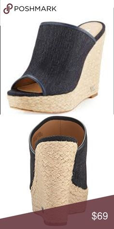 """Michael Kors Hastings Denim Wedge Mule 🌺MICHAEL Michael Kors  🌺Hastings Denim Wedge Mule, Dark Denim With Napa Leather Trim  🌴These will be your favorite go to shoes! They are so comfortable and you can wear them with all your cute spring and summer outfits.  - 4.8"""" braided-jute wedge heel; 1"""" platform; 3.8"""" equiv.  - Open toe  - Slide-on style  - Padded footbed  - Smooth outsole  - """"Hastings"""" is imported  - Heel height may vary by size.  ⭐️New In The Box⭐️ Michael Kors Shoes Wedges"""