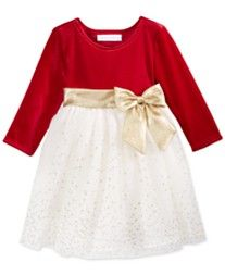 Bonnie Baby Baby Girls' Glitter & Bow Dress