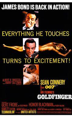 "Agente 007 - Missione Goldfinger [Goldfinger] ""James Bond 1964 di Guy Hamilton con Sean Connery, Honor Blackman, Gert Fröbe, e Shirley Eaton. James Bond Movie Posters, James Bond Movies, Original Movie Posters, Cinema Posters, Music Posters, 007 Contra Goldfinger, James Bond Goldfinger, Casino Royale, Sean Connery 007"