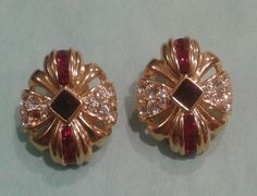 Vintage Earrings by Nolan Miller, God tone with Rhinestone diamonds and rubies