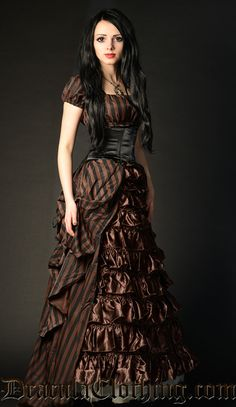 Steampunk Striped Dress You are in the right place about Steampunk Fashion runway Here we offer you the most beautiful pictures about the Steampunk Fashion jewelry you are looking for. Steampunk Cosplay, Steampunk Rock, Style Steampunk, Steampunk Clothing, Victorian Steampunk Dress, Gypsy Clothing, Neo Victorian, Steampunk Halloween Costumes, Steampunk Makeup