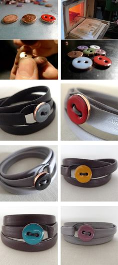leather button bracelets