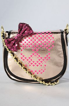 Betseyville Glamour Skull Crossbody in Rose Gold