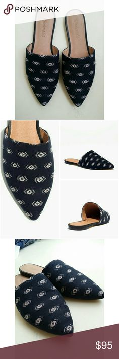 """Madewell The elie slipper flat in diamond stitch Madewell The elie slipper flat in diamond stitch Great Condition! Barely worn! Nothing you can't see on the pictures.   An easy slip-on style (aka dressing room friendly) with a sleek pointed toe, in an artful ikat-inspired jacquard. Safe to say this one does day-to-night duty. When you select your size, """"H"""" equals a half size.    Fabric upper. Leather lining. Man-made sole. Import. Madewell  Shoes Flats & Loafers"""