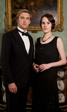 Matthew Crawley shows it's not just the Downton girls who can dress to impress in his tuxedo with wife Mary.