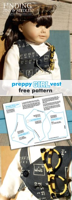 "Finding Pins & Needles: Preppy Girl Vest: American girl free pattern. An adorable vest for your 18"" doll, FREE tutorial and pattern."