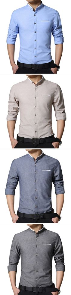 Men's Business Long Sleeve Pocket Shirt : Solid Color / Stand Collar / Cotton / Casual